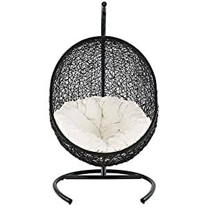 "Swing Outdoor Patio Lounge Cha Espresso White Dimensions: 43.5""W X 40""D X 71""H Weight: 113 Lbs"