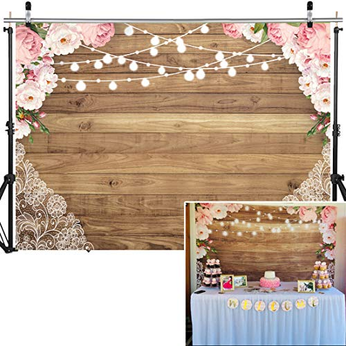 (SJOLOON 7X5ft Flowers Wood Lace Rustic Backdrop Vinyl Wedding Floral Photography Background Wooden Board Floor Bridal Shower Baby Birthday Party Banner Photo Studio Props 11548 )