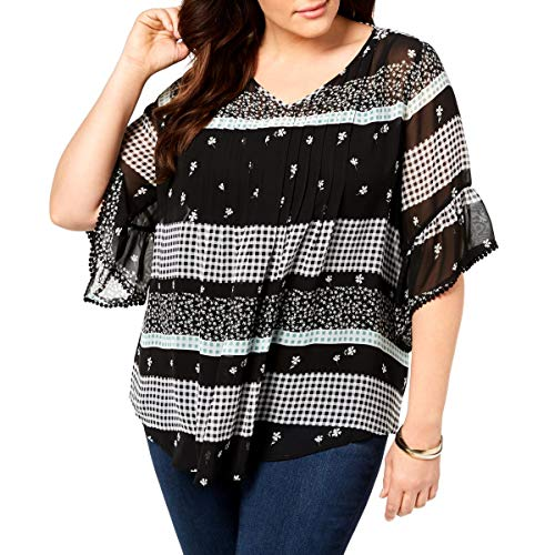(Style & Co. Womens Plus Sheer Printed Blouse Black 0X)