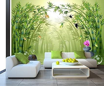 LHDLily Bamboo Forest Living Room Tv Wallpaper Bedroom Sofa Dining Room  Wallpaper 3D Mural 350cmX250cm