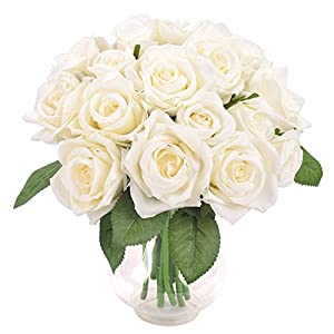 Furnily Artificial Flowers 2 Bouquets 18 Rose Head Rose Fake Flowers Bridal Bouquets for Wedding Decoration(White, No Vase) 66