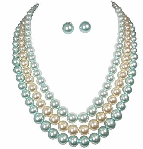 3 Row Layered Glass Imitation Pearl Bead Statement Necklace Earrings Set (Light (Blue Bead Necklace Set)
