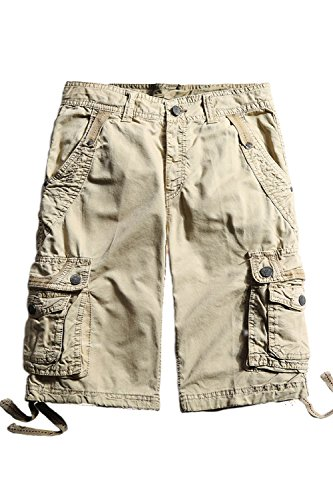 Cyparissus Mens Cargo Shorts Multi Pockets Short for Men (36,Khaki) by Cyparissus