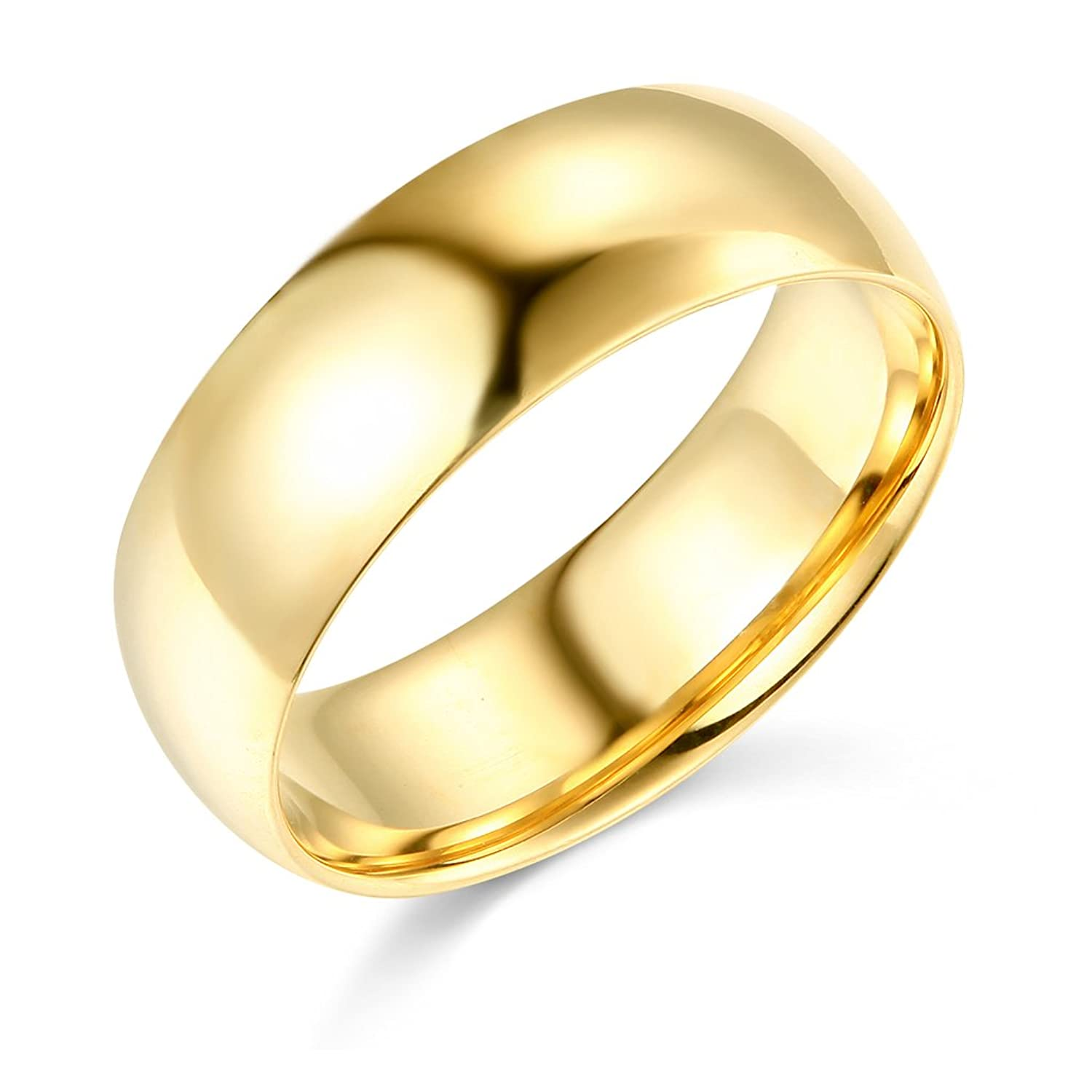 14k Yellow OR White Gold 7mm SOLID COMFORT FIT Plain Wedding Band