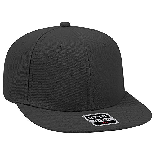 Otto Fitted Hat Wool Blend Flat Bill with NoSweat Hat Liner (7 1/8, Black)