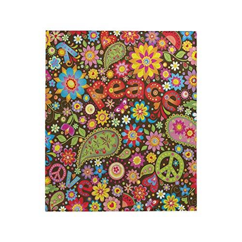 INTERESTPRINT Funny Hippie Peace Sign Paisley Flowers Fleece Blanket Lightweight Cozy Plush Throw Blanket 50