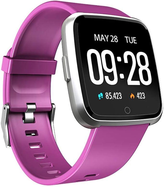 KLFD Y7 Reloj Inteligente con Rastreador Ejercicios Podómetro Caloría GPS para Deporte, Reloj Smart Sueño Pulsómetros Despertador Hombre Mujer,Púrpura
