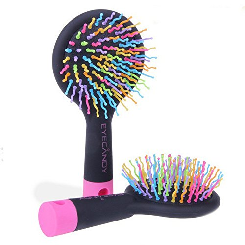 Discount EYX Formula Korean Rainbow cushion comb with mirror for Massaging and Straightening ,Anti-static Soft Bristle Hair Styling Comb Brush For All Hair Types for cheap