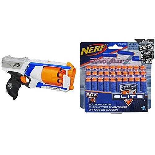 Nerf N-Strike Elite Strongarm Blaster with Official Nerf N-Strike Elite Series Suction Darts 30-Pack Bundle - Nerf N-strike Maverick Blaster