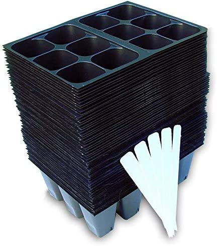 Seed Starter Trays 720 Cells for Seed Germination 10 Plant Labels 120-6-cell Trays