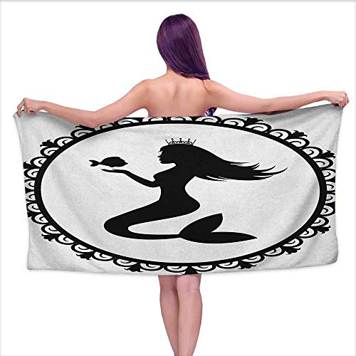 Andasrew Bath Towel bar Mermaid,Vintage Graphic Illustration of a Framed Princess Mermaid with Crown and Fish, Black White,W10 xL39 for Kids ()