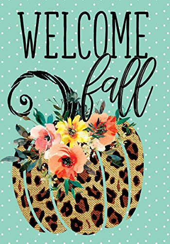 Custom Decor Cheetah Pumpkin - Welcome Fall - Standard Size, Decorative Double Sided, Licensed and Copyrighted Flag - Printed in The USA Inc. - 28 Inch X 40 Inch Approx. Size -
