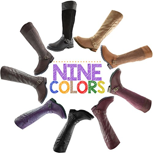 DailyShoes Womens Knee High Ankle Buckle Strap Military Combat Boots Wine Pu 6RhbLX0