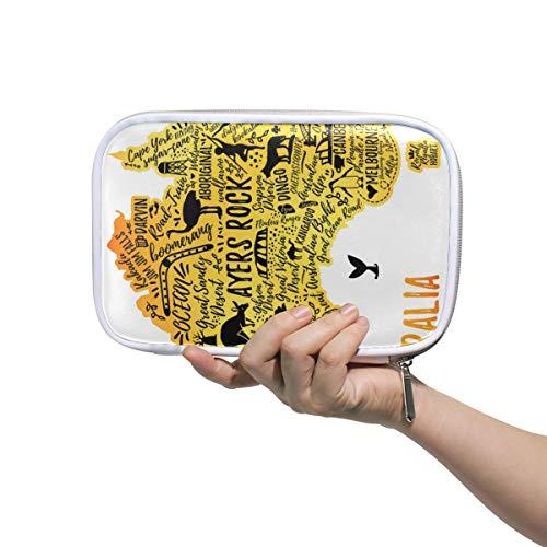 Australia Map Travel Guide Multi-function pen bag Pencil Stationery Pouch Bag Case, Pastoral,Zipper Pouch -