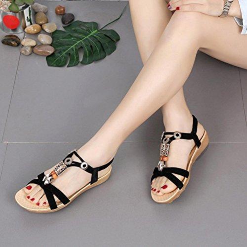 Sandalen Freizeitschuhe Sandalen Damen Komfort Schuhe Förderung Schwarz Elastikband SANFASHION Sandalen Verrückte xZ0wqBHp