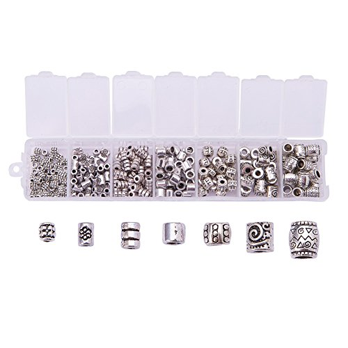 PH PandaHall 260pcs 7 Style Tibetan Alloy Antique Silver Column Spacer Beads Tube Metal Spacers for Bracelet Necklace Jewelry Making