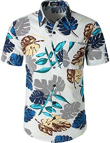 Camp Shirt Hawaiian - JOGAL Men's Flower Casual Button Down Short Sleeve Hawaiian Shirt X-Large A343 White