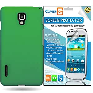 CoverON LG Optimus F7 Hard Rubberized Slim Case Cover Bundle with Clear Anti-Glare LCD Screen Protector - Dark Green