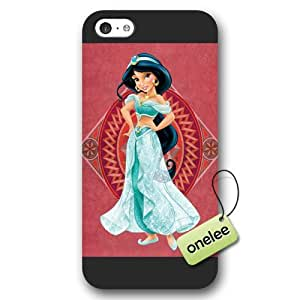 Disney Cartoon Movie Aladdin & Jasmine Frosted Phone Case & Cover for iPhone 5c - Black