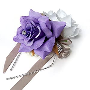 Angel Isabella Open Rose Wrist corsages with Pearl Wristband for Wedding,Prom,Dance,Homecoming. Atificial Flower (White/Lavender) 33