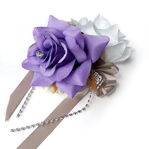 Open rose Wrist corsages with pearl wristband for wedding,prom,dance,homecoming. Atificial flower (White/Lavender) by Angel Isabella