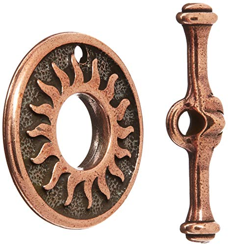 (TierraCast Toggle Del Sol, 18.5mm, Antiqued Copper Plated Pewter, 2-Set/Pack)