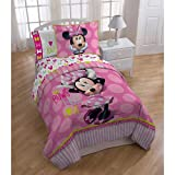 Disney Bundle of 5: 1 Piece Comforter Set,1 Piece Sham,1 Piece Fitted Sheet,1 Piece Flat Sheet And 1 Pillow Case (Minnie Mouse)