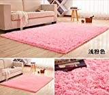 "HUAHOO Super Soft Indoor Modern Shag Area Silky Rugs Dining Room Living room Bedroom Rug Baby Nursery Rug Childrens Kids Room Rug Carpet Floor Mat for Home Decorate (20"" x 31"", Pink)"
