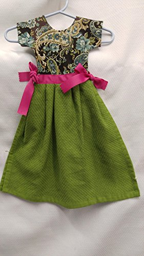 Adorable Oven Door Dishtowel Dress. Brown and gold paisley top over a green skirt with hot pink ribbons at the waist. Could also be used in a guest bathroom as a hand towel.