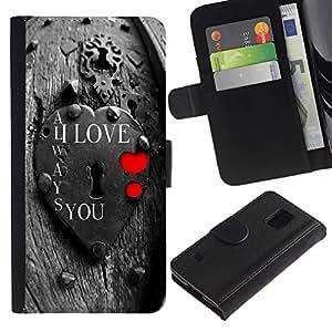 ZONECELL (No Para S5 Mini) Imagen Frontal Negro Cuero Tarjeta Ranura Trasera Funda Carcasa Diseño Tapa Cover Skin Protectora Case Para Samsung Galaxy S5 V SM-G900 - te quiero bloquear
