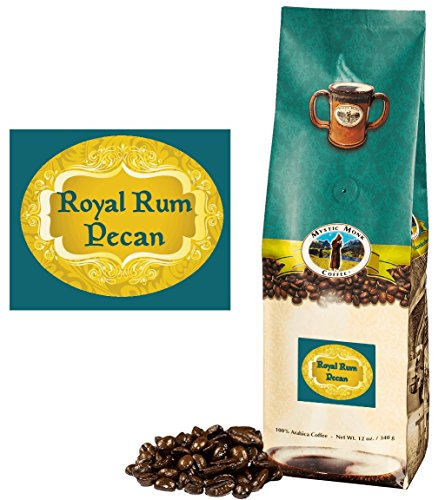 Mystic Monk Coffee: Royal Rum Pecan Whole Bean (Flavored 100% Arabica Coffee) - 12 ounce bag