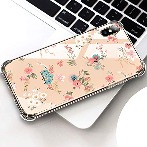 GLBYDLO Compatible with iPhone XR Case, Clear iPhone XR Case, Flower Floral Pattern Clear Design with Shock Absorbent Protective Case Cover for iPhone XR(B)