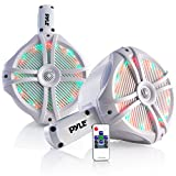 "Waterproof Marine Wakeboard Tower Speakers - 8in Dual Subwoofer Speaker Set and 1"" Tweeter, LED Lights and 260 Watt Power - 2-way Boat Audio System with Mounting Bracket - 1 Pair - PLMRWB85LEW (White)"