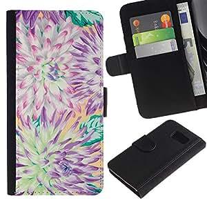 [Neutron-Star] Modelo colorido cuero de la carpeta del tirón del caso cubierta piel Holster Funda protecció Para Samsung Galaxy S6 [Flor del crisantemo verano Pétalo]