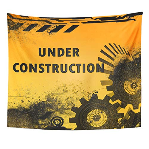 Emvency Tapestry Road White Safety Under Construction Page Solution Worker Cap Come Home Decor Wall Hanging for Living Room Bedroom Dorm 50x60 -