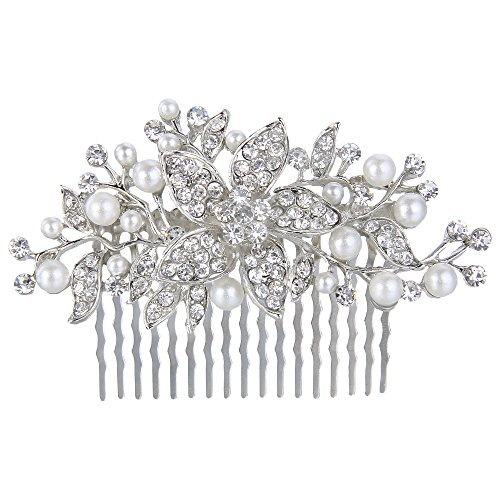 - EVER FAITH Silver-Tone Crystal Simulated Pearl Bridal Flower Leaf Vine Hair Comb Clear