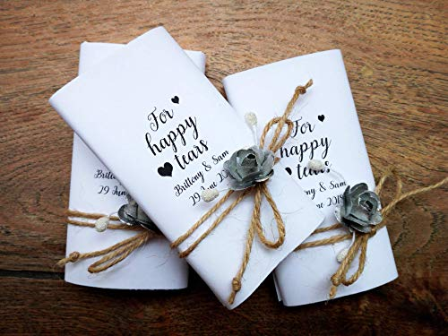 Personalized wedding hankies, 30 pieces, Happy tears tissue pack, Tears of joy packs, Wedding favors for guests, Wedding tissue for tears, -