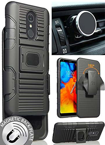 LG Stylo 4 Case/Mount/Clip, Nakedcellphone Black Ring Grip Case Cover + Belt Hip Holster Stand + Magnetic Car Holder for LG Stylo 4 | LG Stylus 4 | LG Q Stylus (Q710MS/Q710CS/Q710TS)