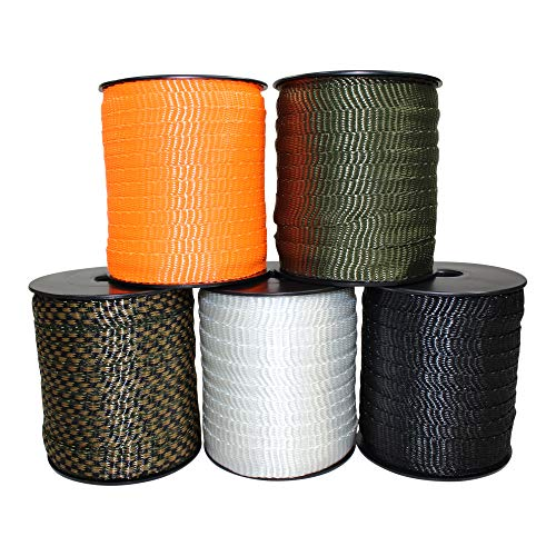 Polyester Webbing (5/8 inch) - SGT KNOTS - Flat Rope - Durable Polyester Pull Tape Strap - Moisture, UV, Rot, Oil & Gas Resistant - Utility, Arborist, Gardening, Marine, Commercial ()