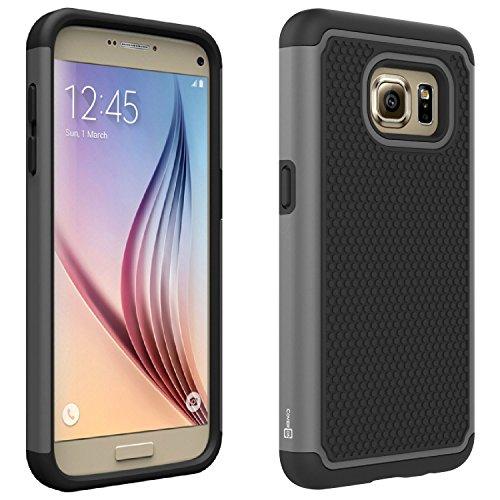 Galaxy S7 Black Case, CoverON [HexaGuard Series] Slim Hybrid Hard Phone Cover Case for Samsung Galaxy S7 - Black