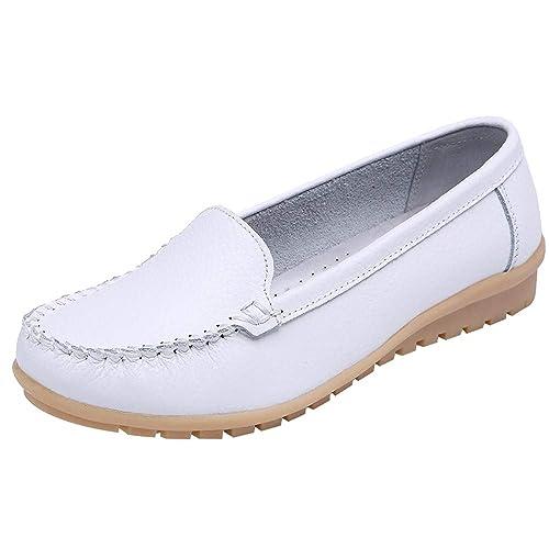 Zapatos Mujer,Las Mujeres de Zapatos de Cuero Genuino Zapatos Mocasines resbalón en el Zapato de Cuatro Estaciones Zapatos: Amazon.es: Zapatos y ...