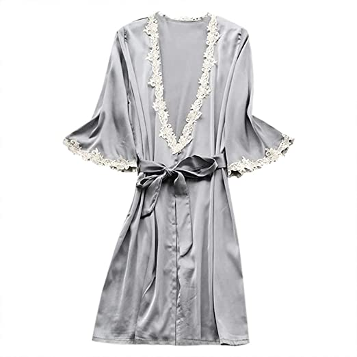 28b2a5d83b3 Women s Elegant Silk Satin Sleepwear Kimono Robe Pajamas Deep V Temptation  Lingerie High Waist Bathrobes Night