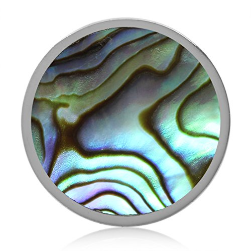 - Abalone/Paua Shell White Gold Plated 925 Sterling Silver Floating Slide Circle Pendant