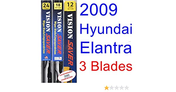 Amazon.com: 2009 Hyundai Elantra Touring Replacement Wiper Blade Set/Kit (Set of 3 Blades) (Saver Automotive Products-Vision Saver): Automotive
