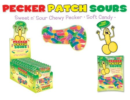Pecker Patch Sour Gummies Display (12 Pack) by Hott Products Unlimited