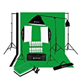 CanadianStudio 2400 Watt Digital Video Continuous Softbox Lighting Kit and Boom Set with High Key Muslin Black/White/Green Screen and Backdrop stand kit - FREE SHIPPING FROM CANADA