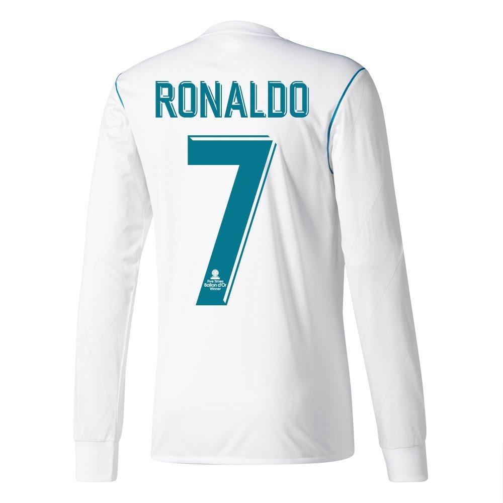 Real Madrid Home L / S Ronaldo 7 Jersey 2017 / 2018 ( Unofficial Ronaldo Commemorative印刷) B0782XHQBYXX-Large