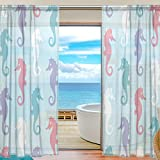 SEULIFE Window Sheer Curtain, Ocean Seahorse Pattern Voile Curtain Drapes for Door Kitchen Living Room Bedroom 55x78 inches 2 Panels