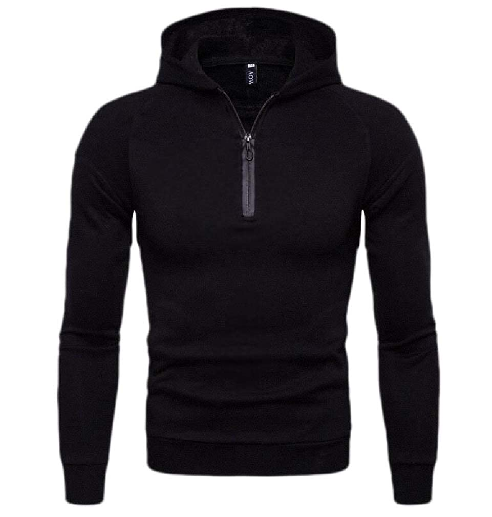 Cromoncent Mens Casual Sport Quarter Zip Hooded Pullover Sweatshirt