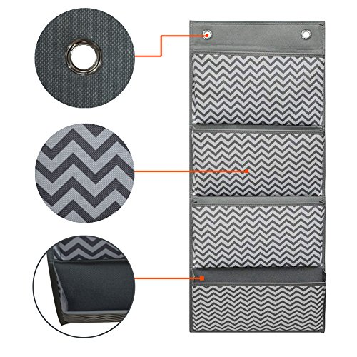 Cascading File Organizer,Hanging Wall File Organizer,Storage Pocket Chart 4 Pockets with 2 Hangers by Eamay for School Office Home Organize Assignments,Files,Scrapbook Paper by Eamay (Image #3)